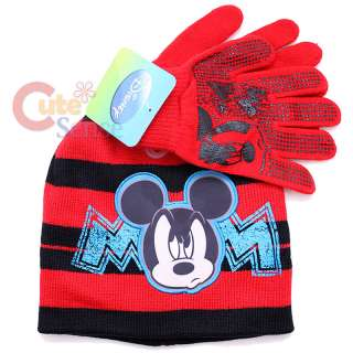 Disney Mickey Mouse Gloves Beanie Set Red 1