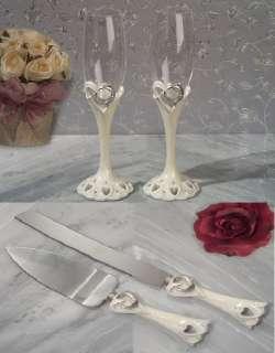 ONE HEART Wedding Cake Kinfe Sever Toasting Flute Glasses Set