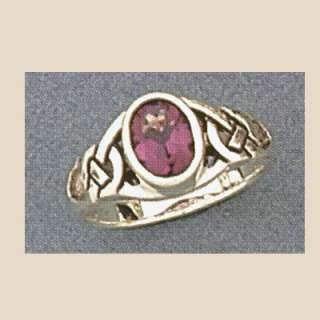 Sterling Silver Celtic Knot Ring Amethyst Sizes 6 8