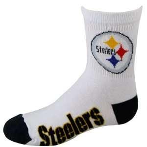 Steelers Youth White Black Quarter Length Socks