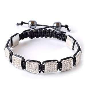 White Crystals Black Macrame Beaded Square Unisex Bracelet