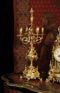 ANTIQUE FRENCH ORIGINAL GILT BRASS LOUIS XVI STYLE CANDELABRA CLOCK