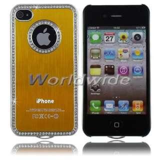 Aluminum/Bling Diamond/Silver Chrome Hard Case Cover For iPhone 4G 4S