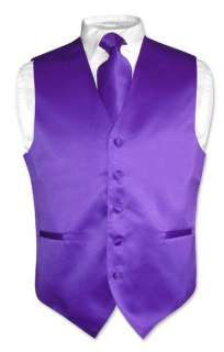 Men PURPLE Dress Vest NeckTie Set for Suit or Tuxedo