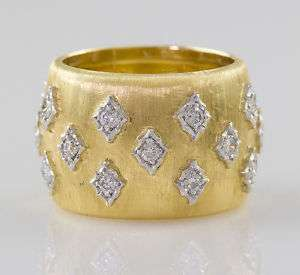 BUCCELLATI 18K White Yellow Gold Diamond Band Ring 7