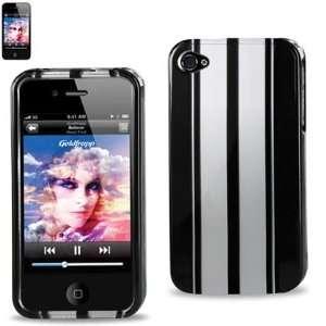 Hard Case Designed for Men IPhone 4 4S Black w/ Silver