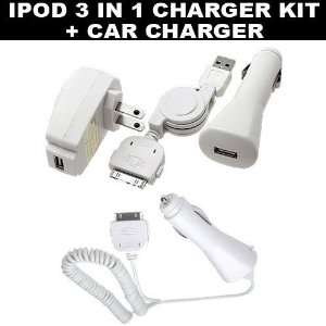 3 in 1 iPod Charger Kit Home/Travel Charger Car Charger