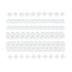 Iridescent Glitter White Scalloped Lace Trim Strip Nail Stickers