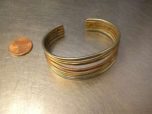 Sergio Lub Signed Cuff Bracelet Gold/Silver/Copper