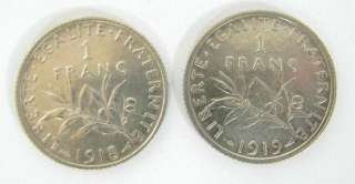 LOT 2 FRANCE FRENCH 1 FRANC SILVER COIN 1918 1919 x