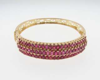 Estate 10ct Natural Ruby 20gr 14k Gold Bracelet Bangle