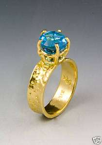 Lone Star Cut Blue Topaz Concave Band 14k Gold Ring