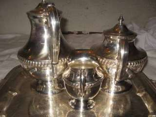 LEHMAN SHEFFIELD SILVER PLATE TEA COFFEE SET & TRAY