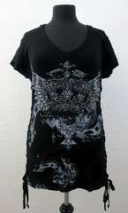 Plus Size Womens Black Short Sleeve Shirt Rhinestone Crown Wings