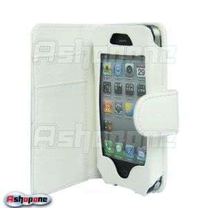White Wallet Flip Leather Case Cover For iPhone 4 4G
