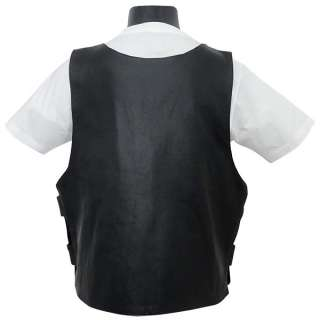 Black Leather Motorcycle Vest Replica~M L XL 2XL 3XL 4XL 5XL