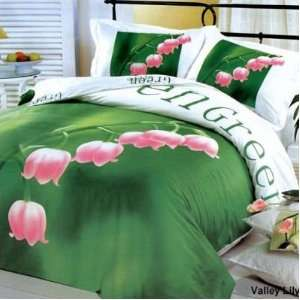 Le Vele Valley Lily   Duvet Cover Bed in Bag   Full / Queen Bedding
