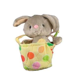 Polka Dot 5 Basket w/ Stuffed Plush Bunny Rabbit Toys