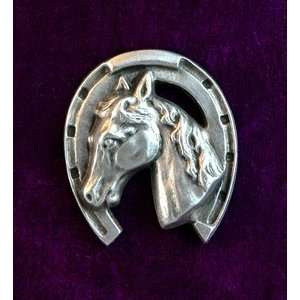 Large Horse Head Brooch   Solid Pewter