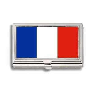France French Flag Business Card Holder Metal Case Office