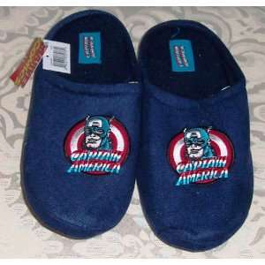 Marvel Comics CAPTAIN AMERICA Embroidered Polar Fleece Slippers Navy