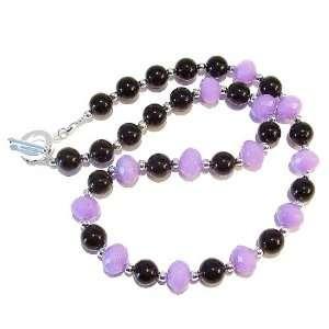 The Black Cat Jewellery Store Lavender Jade & Black Onyx Necklace 19