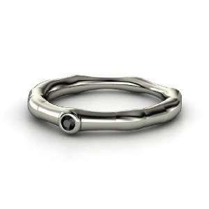 Bamboo One Stone Ring, 14K White Gold Ring with Black Diamond Jewelry