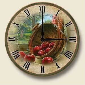 RED apple country Kitchen WALL CLOCK home decor art NEW