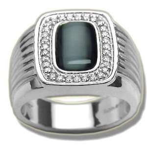 .25 ct Synthetic Grey Cats Eye Closed Back White Mens Ring