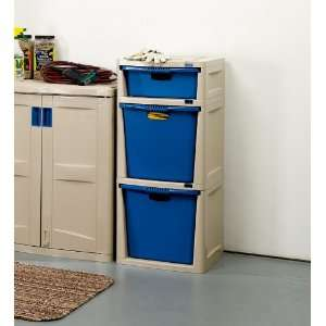 Low Maintenance Resin Three Drawer Storage Tower for