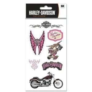 Harley Davidson Motorcycle Pink Logo Scrapbook Stickers