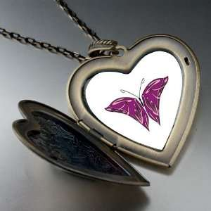 Purple Pink Butterfly Large Pendant Necklace Pugster