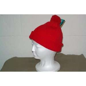 Red Solid Beanie / Ski Cap / Stocking Cap with Pompom