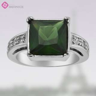 fashion party jewelry SQUARE CUT GREEN EMERALD WHITE GOLD GP JEWELRY