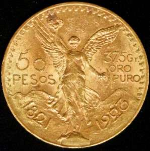 Rare Date 1923 50 Peso Mexico Gold Bullion Coin