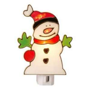 Stained Glass Snowman Night Light