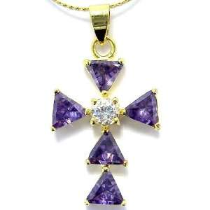 Gorgeous Cross Cut Gold Plated Simulated Amethyst Pendant