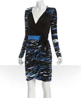 BCBGMAXAZRIA black splash print jersey wrap dress