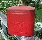 Vtg 40s / 50s Solid Red Coca Cola Cooler Cool Compact size 12 X 10