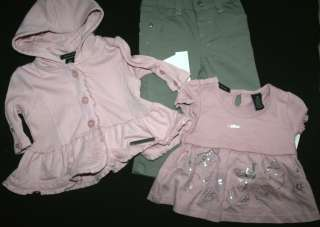 CALVIN KLEIN GIRLS PINK HOODIE JACKET SHIRT TOP PANTS SET 12 or 24