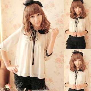 2012 fashion Ladies Short Sleeve Lapel Bowknot Chiffon Shirt Tops