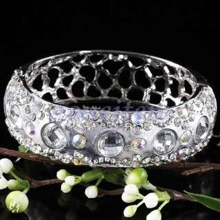 Pe43 Clear White AB Crystal Rhinestone Beaded Hollow Cuff Bracelet