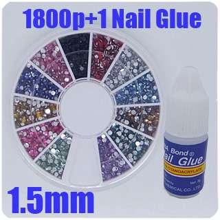 1800x Nail Art Rhinestones Glitters Round Wheel 1.5 N01