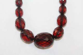 1920s Bakelite Necklace Vintage Art Deco Cherry Amber Faceted Beads 30