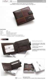 Genuine Cow Leather Mens Wallet Purse with Coin Slot 262