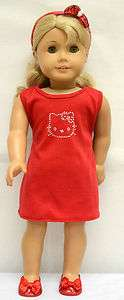 Doll Clothes fit AG & 18 Doll   cotton dress with rhinestones cat