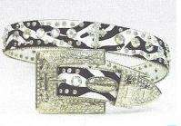 Western Cowgirl Rhinestone Zebra French Cross Belt Very Fancy Studded