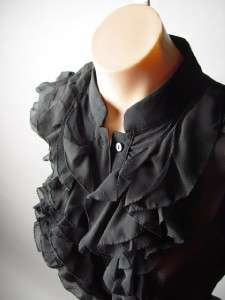 Romantic Victorian Black Sheer Chiffon High Neck Ruffle Bib Front