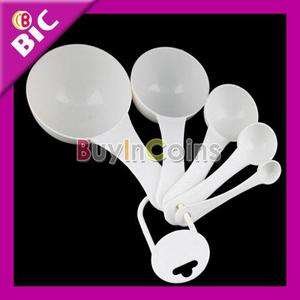New 5Pcs White Kitchen Plastic Measuring Spoons Cup Set
