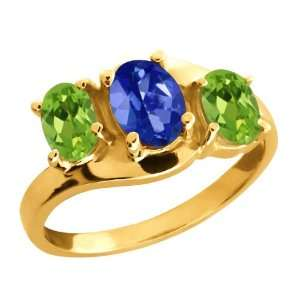 Ct Oval Sapphire Blue Mystic Topaz and Peridot Gold Plated Silver Ring